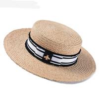 chapéus de palha venda por atacado-Primavera e Verão Novas Senhoras Lafite Chapéu De Palha Moda Flat Top Hat Grande Viseira Fora do Protetor Solar Chapéu de Sol