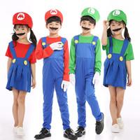kindjunge verkleiden sich großhandel-Kinder Designer Kleidung Mädchen Jungen Weihnachten Halloween Make-up Party Cosplay Kostüme Super Mario Strampler Kleid Cos Kleidung C486