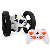 ingrosso giocattolo robot bianco nero-1PC RC Auto da salto con luci a LED da 2,4GHz Telecomando senza fili Giocattolo 4CH Bounce Robot da rimbalzo Auto rotazione Stunt Car BlackWhiteBlue