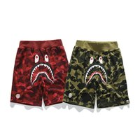 Wholesale pants cotton resale online - Bape Mens Shorts Designer Mens Summer Fashion Beach Pants Mens Shark Print Cotton High Quality Short