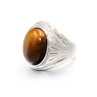 tigerringe großhandel-Vintage Männer Junge Oval Tigerauge Brown Stones mit Symbol Ring in Edelstahl Schmuck Herren Accessoires Anel Aneis