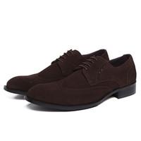 натуральная кожа нубук натуральная кожа оптовых-New Fashion Comfortable Black Genuine Leather Pointed Toe Nubuck Pattern Flat Man Casual Classic Gentleman Shoes JS-A0038