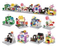 Wholesale plastic assembling building blocks resale online - Compatible assembled building blocks mini city street view series in architectural scene model creative assembling building blocks toys