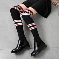 ingrosso stivali piatti di pirata-2019 New Fashion Elastico da donna Stivali calze Sexy da donna Gamba sottile stivali sopra il ginocchio Scarponi da donna