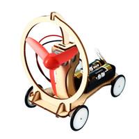 modelo de juguete molinos de viento al por mayor-la escuela primaria de juguete experimento científico Niños mano bricolaje kit de material de molino de viento modelo aparatito Sin C2420 batería