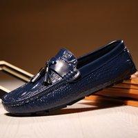 sabit disk toptan satış-Erkek ayakkabı püsküller timsah desen tasarımcı erkek sosyal ayakkabı slip-on yumuşak sert giyen sürüş ayakkabı sonbahar