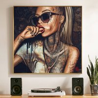 Wholesale oil painting girls portrait resale online - 1 Piece Pop Art Cool Girl Tattoo Pictures Abstract Modern African Canvas Painting New Graffiti Street Women Portrait Wall Art No Frame