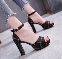 Wholesale korean fashion dresses for summer resale online - New checked fishmouth sandals for women with thick heels and high heels in summer Korean version waterproof platform shoes for women