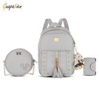 Wholesale grey wool backpack resale online - 3Set Rivet Tassel Black Cackpack School Bags For Teenage Girls sac a dos Femme Mochilas Mujer PU Leather Backpack Top Handle Bag