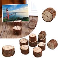 titulares de tarjetas de escritorio al por mayor-10x Número de mesa de fiesta de madera Lugar del lugar Nombre Tarjeta de imagen Titular de la imagen Decoración del hogar Deco