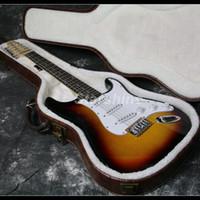 хром аппаратная солнечная гитара оптовых-12 струн ST электрогитара 21 ладов липы тела струны через тело хром аппаратных Sunburst цвет