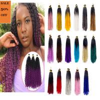 ingrosso estensioni due colori-Trecce all'uncinetto sintetico all'uncinetto Wave Wave Ombre Two Tone Colors Fibra Twist Hair Extensions 100 g / Pack 14 pollici