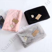 Wholesale neckerchief plain resale online - Brand Australia UG Fuzzy Scarf Brand Designer Scarves Plush Neckerchief Wrap Neck Ring Scarf Keep Warm Outdoor Ski Fleece Fur Scarf C91008