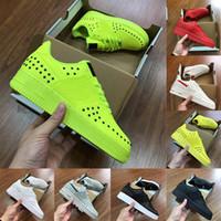 ingrosso verde limone-Taglia 13 Fashion Luxury Designer Uomo Scarpe Air Dunk 1 One giallo limone Verde lime Rosso Nero Bianco Mens Flats Scarpe da corsa Sneakers da ginnastica