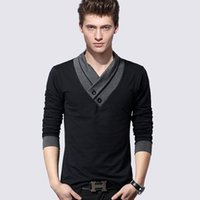 Wholesale mens v neck button pullover resale online - Autumn clothing Stand collar men s long sleeve t shirt t shir Top Mens Casual Shirts Pullover Fashion Clothes Z311