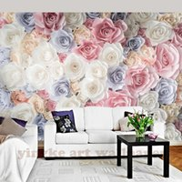Wholesale mural painting for living room resale online - custom hand painting mural wallpaper pastorable rose TV sofa background wall wallpapers for living room wedding room