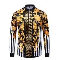 siyah gömlek gündelik moda toptan satış-Moda Tasarımcısı Erkek Gömlek 3D Medusa Siyah Altın Çiçek Baskı Erkek Uzun Kollu Iş Rahat Slim Fit Gömlek