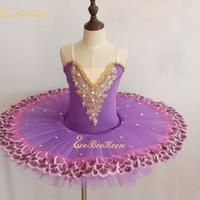 chicas trajes de baile de oro al por mayor-Vestido de ballet para niñas Lake Swan Tutu Ballet Vestido de baile para mujer Bailarina de encaje dorado Diamante Disfraz de rendimiento profesional