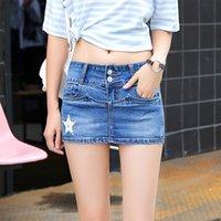 fondos de mezclilla coreana al por mayor-Casual mini falda verano de las mujeres del dril de algodón Faldas mujer oscuro azul estrella de la manera del remiendo de los pantalones vaqueros de la falda del estilo coreano Bottoms más el tamaño