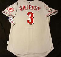 serin taban jarse boyutları toptan satış-Majestic Ucuz CINCINNATI # 3 KEN GRIFFEY JR. SERIN BASE Jersey Erkek Dikişli Toptan Büyük Ve Tall BOYUTU XS-6XL beyzbol formaları