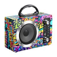 hifi boombox achat en gros de-En Bois Bluetooth Haut-Parleur Stéréo Hifi Boombox Graffiti En Bois Véritable Haut-Parleur avec Poignée Micro Supports TF Carte FM Radio En Plein Air Portable Soundbox