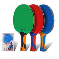 настольные пластиковые дети оптовых-Взрослые дети ракетка для настольного тенниса резиновая пластиковая интеграция Profess Racket Зеленый Красный Синий Удобная ручка Популярная ракетка 46ay D1
