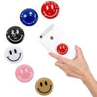 Wholesale smile cell phone resale online - Universal Glossy Smile Style Finger Holder Grip Expandable Expanding Cell Phone Holder Stand Bracket With Retail Package