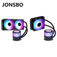 ventiladores de enfriamiento para pc al por mayor-JONSBO De una pieza PC PWM Radiador 120 o 240 + Kit de bomba Enfriamiento por agua Colorido CPU Bloque Symphony Crystal Fan