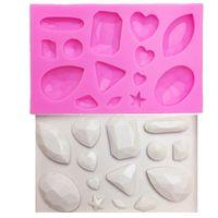 edelsteinform großhandel-M0174 Mini Gem Diamantförmig Fondantkuchen Schokolade Werkzeuge Süßigkeiten Silikonform