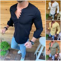 camisa amarilla del músculo al por mayor-2019 Camisas de moda Hombres Plain T-Shirt Botones Slim Fit Cuello en V Muscle Top Casual Blusa Tee Blanco Azul oscuro Verde Amarillo M-2XL