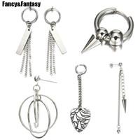 серьги панк цепи оптовых-Kpop BTS Earrings Silver Round Ear Clip Earring for Men Women Punk Korean Long Tassel Chain Earrings  JIN Bts Accessories