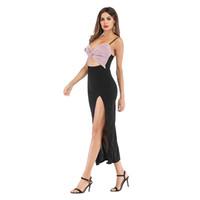 vestido de rajita de playa de dos piezas al por mayor-2019 trajes de mujer de verano con cuello en V Open back Slit Slim Dress Party Sexy Crop Top de dos piezas y conjunto de falda Vestido de playa 607