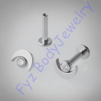 Wholesale g23 titanium body jewelry for sale - Group buy 14G G Internal Thread Moon Ear Tragus Cartilalges Stud Earring G23 Titanium Labert Lip Percing Body Jewelry