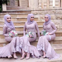 novias lavanda criadas vestidos al por mayor-Árabe musulmán lavanda vestido de dama de honor con mangas largas Crew escote sirena vestidos de baile apliques de encaje dama de novia vestidos personalizados
