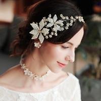 Wholesale beaded hair tiaras resale online - 2019 New Bridal Tiara Hair Accessories Hand beaded Headband Flower Headdress Wedding Dress Hair Band Bride Accessories