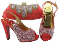 Wholesale african shoes matching handbags resale online - Hot sale coral women pumps match handbag set with rhinestone african shoes and bag for dress FGT002 heel CM