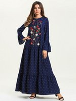 jalabiya elbiseleri toptan satış-4XL Müslüman Kadınlar Abaya Elbiseler Baskılı Morumsu Mavi Maxi Abaya Jalabiya İslam Kadınlar Nakış Elbise Giyim 7540 #