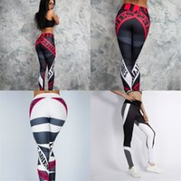 ingrosso pantaloni yoga bianchi-Donne Stampa Sport Leggings Geometria di alta qualità Nono Yoga Pantaloni Dry Fast traspirante Bianco rosso Fashion Fitness Pant 16nlD1