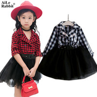 Wholesale baby rabbit clothing for sale - Group buy Aile Rabbit Girls Tutu Dresses Spring Autumn Full Sleeve Children s Clothing Plaid Lace Dress Outfits Kids Clothes K1 MX190724
