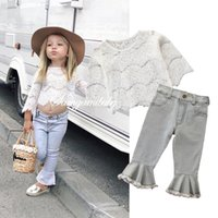 Wholesale summer weaves resale online - Baby Girls Suits Lace Long Sleeve Tops Blouse Flared Trousers Jeans kids sets kids designer clothes girls outfits kids clothes