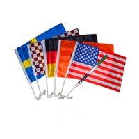 fenêtre drapeau pour la voiture achat en gros de-2018 Russie coupe du monde de football football 32 équipe nationale Voiture Drapeau National fenêtre de voiture clip du drapeau double face Polyester Bannière drapeaux Funs Cadeau