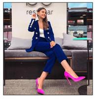 terno profissional sexy venda por atacado-Mulheres Beads Painéis Suit V Neck Designer Sexy Sólidos terno cor do ouro Velvet Professional Jacket Vestuário Feminino