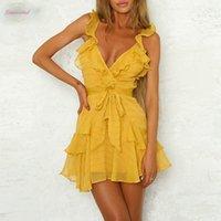 mini vestido sexy amarillo de las mujeres al por mayor-V profundo cuello vestido sólido atractivo volante arco vestido Mujeres Verde Amarillo informal de Bohemia de la playa vestido Vestidos