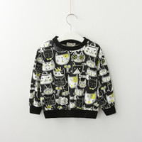 Wholesale clothes designs for baby boy resale online - Toddler Girl And Boy Cartoon Cat Print Sweatshirts Bulk Clothes For Kids Design Black Sweatshirt Unisex Baby Tops