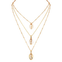 ingrosso lega ornamentale-Shell Necklace Shell Multilayer Collane Wrap Chains Designer Collana Beach Jewelry per donna Will e Sandy Gift Dropship 380154