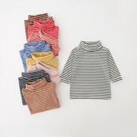 полосатые майки для детей оптовых-9 цветов Детей полосатых рубашек с длинным рукавом основывая T Рубашки Хлопок Повседневной Водолазки Подложка Рубашка Дети Пуловер Одежда M1017
