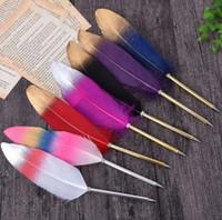 feder kugelschreiber großhandel-DHL Fashion Feather Quill Kugelschreiber Kugelschreiber Für Hochzeitsgeschenk Büro Schule Schreiben Supplie Schreibzubehör nt