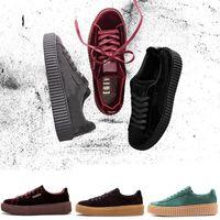 frei kriechpflanze großhandel-Neue Ankunft Fenty Creeper Rihanna Velvet Cracked Leder Wildleder Freizeitschuhe Männer Frauen Free Drop Shipping Sneakers