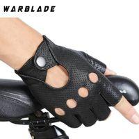 Wholesale half finger gloves for women resale online - WarBLade Fashion Black PU Half Finger Driving Show Women Gloves Punk Jazz Fingerless Gloves For Women Luva Guantes