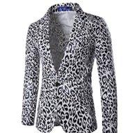 лучшие костюмы оптовых-Мужские костюмы S Осень Зима Мода Леопардовый костюм Шафер платье Real Image Мужские костюмы Бизнес Свадебный Blazer G2O3